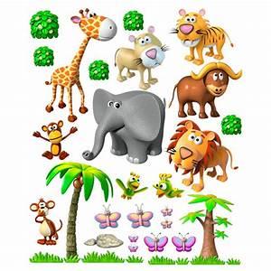 Stickers Animaux De La Jungle : sticker mural enfant animaux de la jungle africaine ~ Mglfilm.com Idées de Décoration
