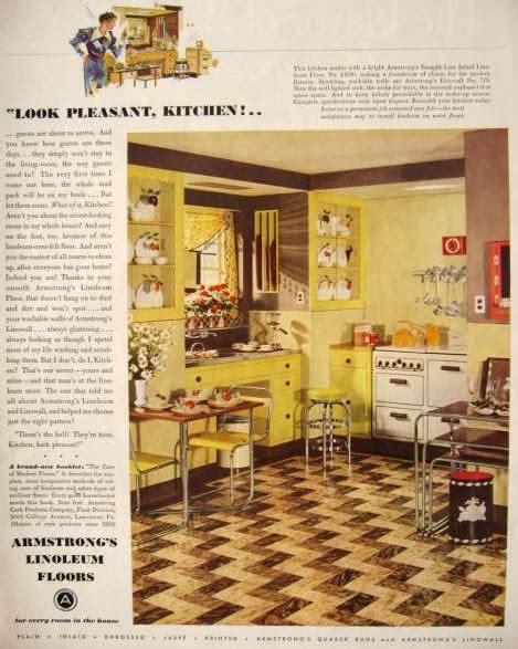 retro kitchen flooring 1936 armstrong linoleum floors ad retro formica kitchen 1936