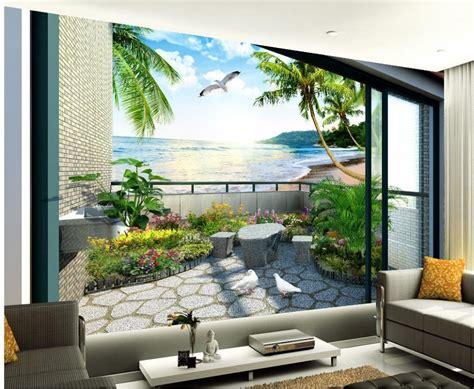 buy custom  wallpaper balcony garden
