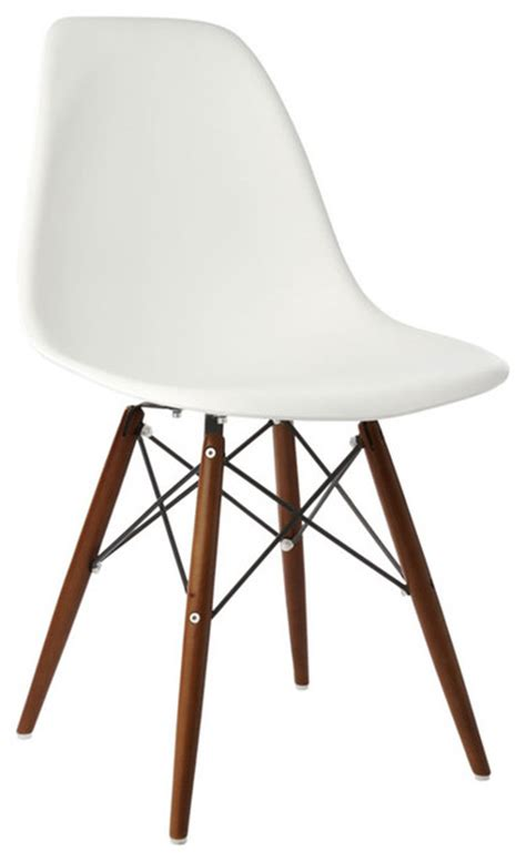 4 x white dsw mid century modern dining shell chair
