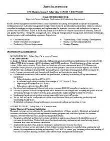 exle of resume for call center resume sle 2 call center director resume career resumes