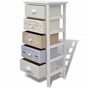 Rangement Tiroir Bois : acheter vidaxl armoire de rangement 5 tiroirs bois pas ~ Edinachiropracticcenter.com Idées de Décoration