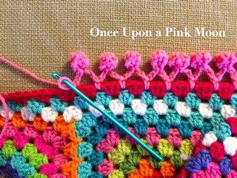 crochet edging once upon a pink moon pom pom edge