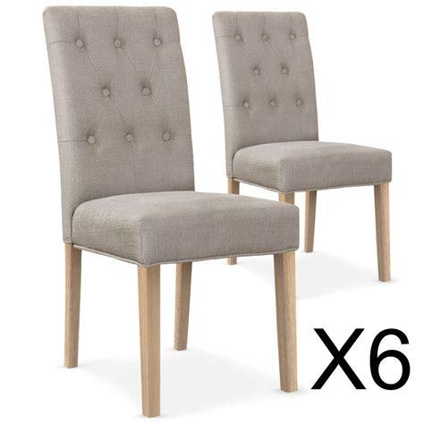 chaises capitonnées lot de 6 chaises gaya capitonnées en tissu biege