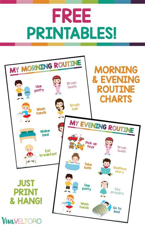 kids daily routine chart  printable  images