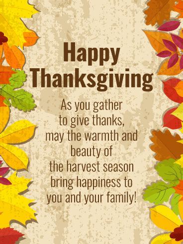 happiness harvest season thanksgiving card