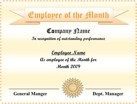 editable employee   month certificate sample