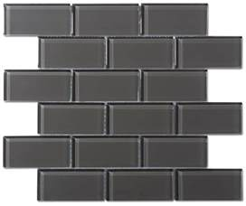 black glass backsplash kitchen charcoal gray glass 2x4 mosaic subway tile
