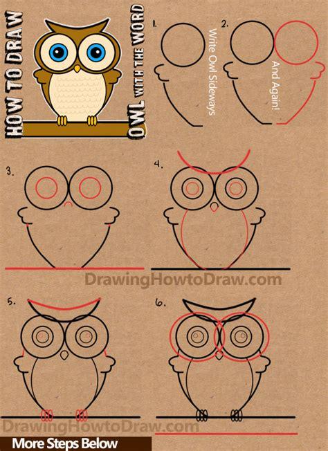 draw  cartoon owl  word owl drawing tutorial