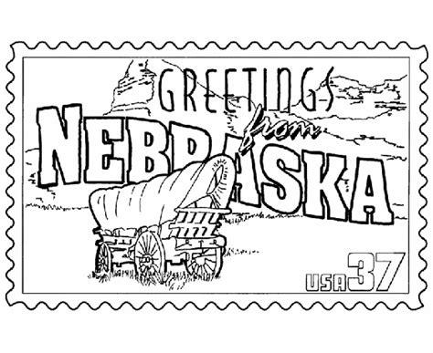 usa printables nebraska state stamp  states coloring