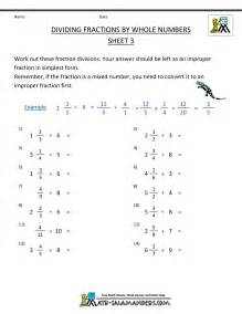 fraction of a number worksheet dividing fractions by whole numbers
