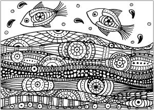 fishes coloring pages  adults