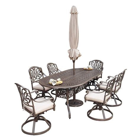 hton bay oak heights 7 patio dining set with