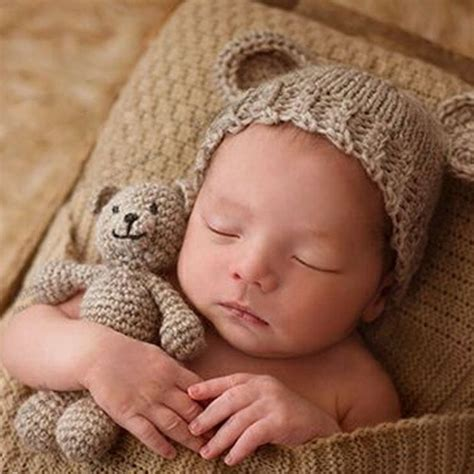 bear  baby cap infant photography accessories