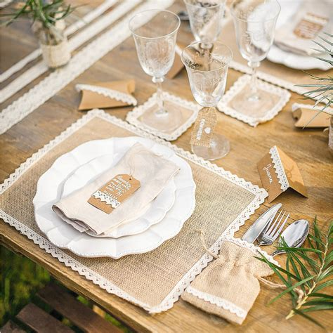 d 233 coration mariage vintage centre de table jute et dentelle carr 233