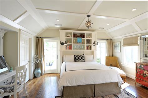 inspired bookcase headboard in bedroom transitional with