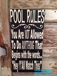 pool rules sign Pool Rules Sign 12 x 24 Wood Sign funny sign