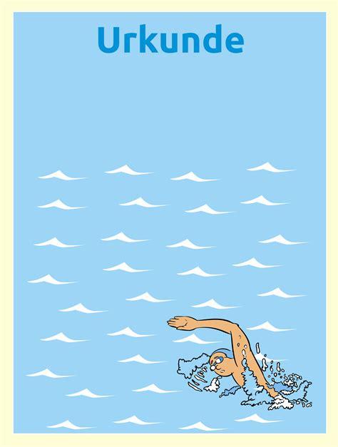 urkunde schwimmen urkunden fuer kinder