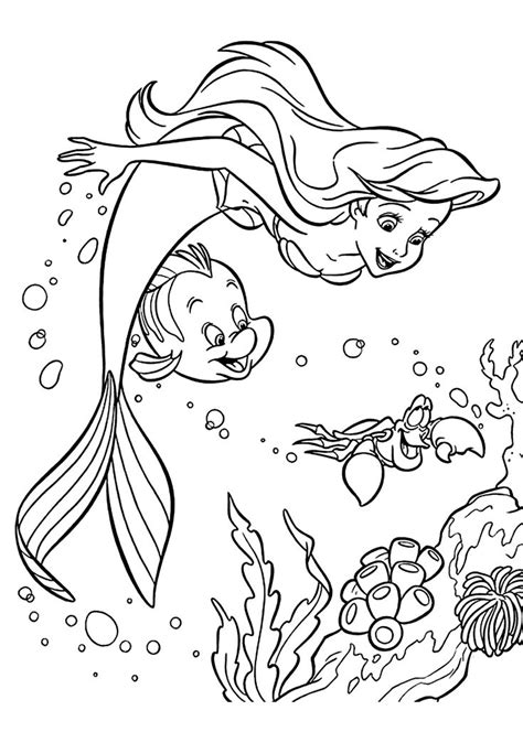 sebastian  ariel coloring pages  girls printable  mermaid coloring pages ariel