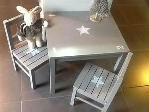 Table Basse Enfant : meuble ensemble table et 2 chaises en bois pour enfants patin taupe chambre d 39 enfant de b b ~ Teatrodelosmanantiales.com Idées de Décoration