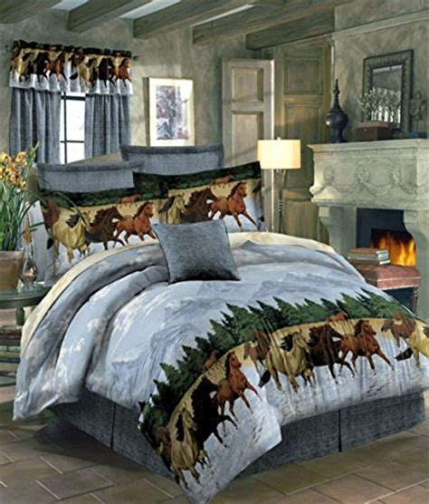 horse bedding bedroom comforter horses water sets decor print country themed bed queen equestrian western bag running designs colors piece