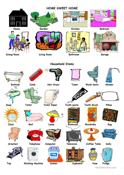 house  household items worksheet  esl printable