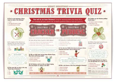 Christmas Trivia Quiz For Christmas Crackers Or Christmas Puddings