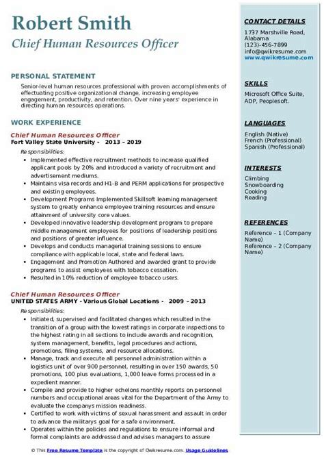 chief human resources officer resume samples qwikresume