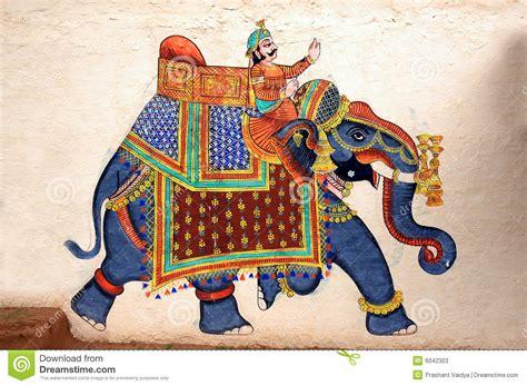 wall painting  elephant  city palace udaipur stock