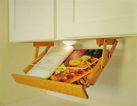 undercounter kitchen storage cabinet lighted cookbook holder kitchen by 3025