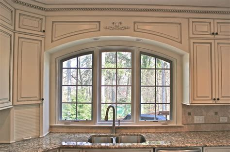 wood valance kitchen sink custom arched valance traditional kitchen chicago 1955