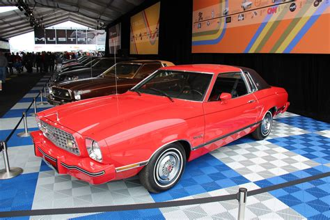 ford mustang ii ghia coupe bright red fords pony