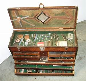 Vintage Gerstner Machinist Tool Chest Wood Box Full of