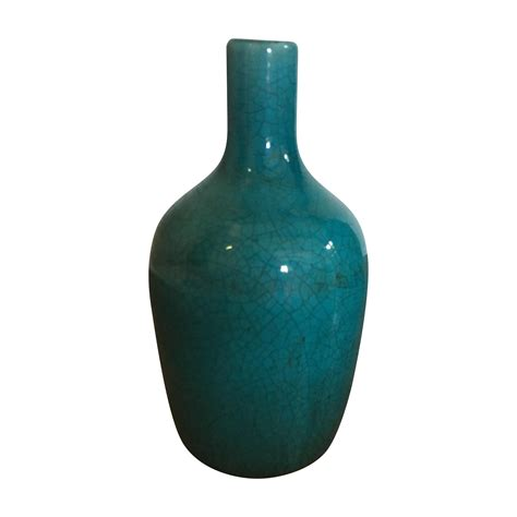 Teal Vase by Teal Ceramic Crackle Decorative Vase Chairish