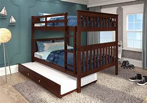 Donco, Kids, Mission, Bunk, Bed, Full, Style, W, Twin, Trundle, Bed