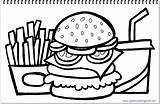 Hamburger Fries Coloring French Drink Drawing Title sketch template