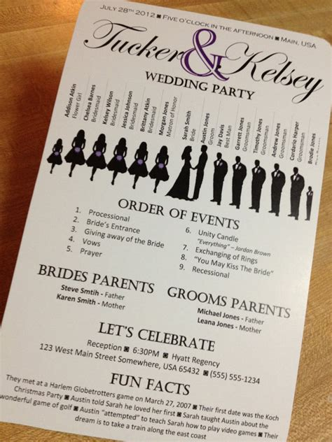 wedding programs not necessary but a touch