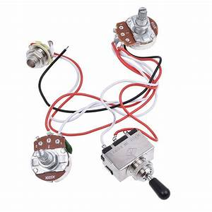 Electric Guitar  Bass Wiring Harness 3way Toggle Switch 1v1t 500k For Lp 2 Humbucker