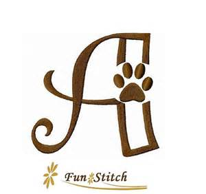 Paw Print Embroidery Design Letters
