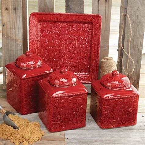 Savannah Red Kitchen Canister Set And Platter