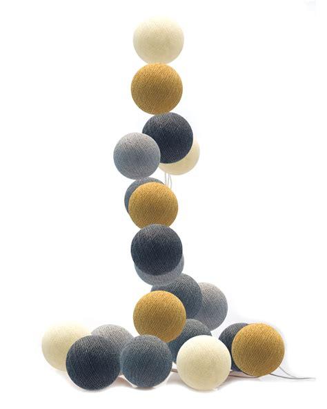 cotton balls lichterkette moods led lichterkette cotton balls grau senfgelb elfenbein bei fantasyroom kaufen