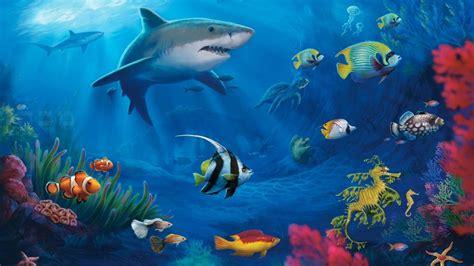fish sharks coral underwater wallpaper hd