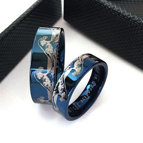 matching rings matching wedding bands wave ring tungsten wedding bands lunamur