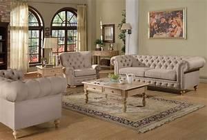 2pc, Sofa, Set, Beige, Fabric, Traditional, Living, Room