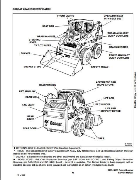 bobcat s175 s185 turbo skid steer loader service repair workshop manual 525011001 525311001 a