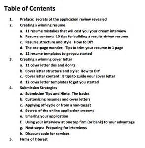 contents of a resume cover letter image table of contents management consulted