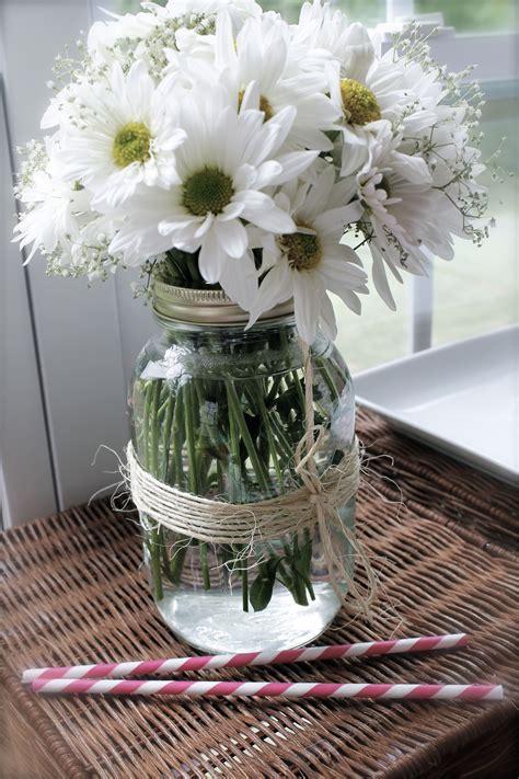 Bridal Shower Country Theme Mason Jars With Twine Dasies