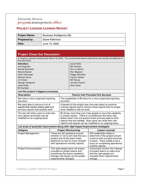 project lessons learned template   templates
