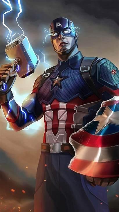 Captain America Mjolnir Iphone Artwork Endgame Avengers