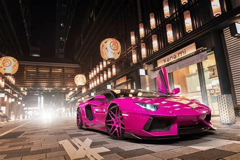 pink lamborghini aventador turns heads  tokyo carscoops